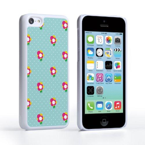 Caseflex Coque iPhone 5C Etui Vert / Rose Points Délicats Et Fleurs Dur Housse