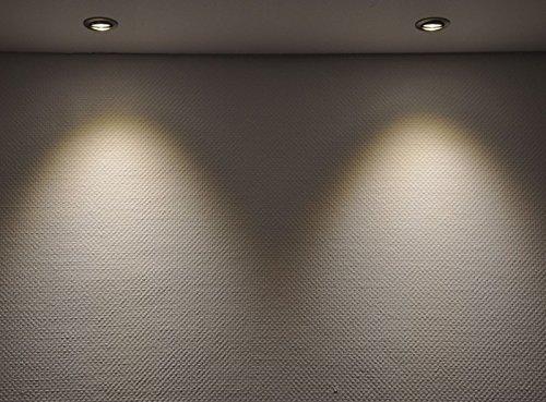 3er LED Einbaustrahler Set Bicolor (chrom / gebürstet) mit COB LED GU10 Markenstrahler von LEDANDO – 5W DIMMBAR – warmweiss – 40° Abstrahlwinkel – schwenkbar – 50W Ersatz – A+ – COB LED Spot 5 Watt – Einbauleuchte LED rund - 3