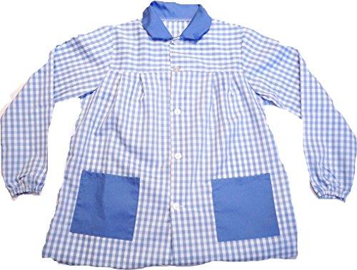 ESCOLAIN - Mandilón Bicolor Colegio para Niño - Color - Cuadro Grande en Azul Blanco y Azul en Cuello y Bolsillo - Talla - 6