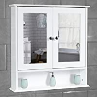 Quality White Bathroom Wall Cabinet with Mirror Shelves Storage Cupboard Wooden