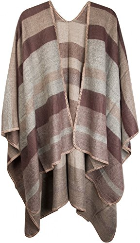 styleBREAKER Poncho mit Streifen Muster, Überwurf Cape, Wendeponcho, Damen 08010009, Farbe:Braun-Beige-Grau -