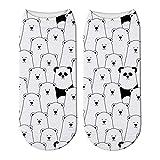 DYDONGWL Calcetines/5 Par/Panda Lindo Impreso 3D Calcetines Cortos de Algodón para Mujeres Animal Panda Oso Calcetines Primavera Verano Kawaii Calcetines de Tobillo Divertidos Unisex