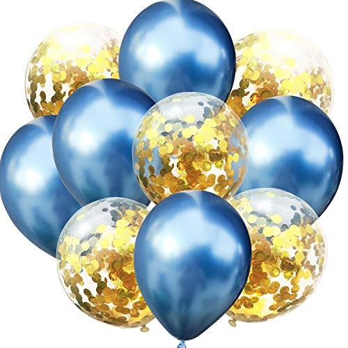 fetti Luftballon Set für Geburtstag Feier Jubiläum Hochzeit JGA Party Deko Ballons Blau Gold ()