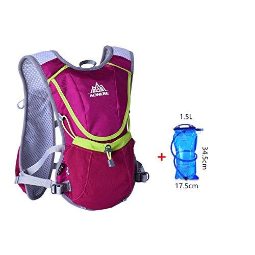 Imagen de aonijie hombres y mujeres marathon ciclismo  ligera para correr + 1.5l hidratación bolsa de agua, hot pink