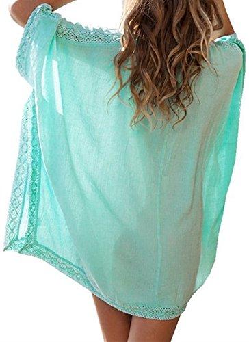 sfpong Damen Sommer Strand Kleid Shirt Cover-Ups Bademode Pareos  Strandkleider(Grün) Weiß ...