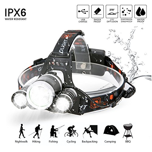 Yiiyaa LED Stirnlampe, 4000mAh Super Hell Wasserdicht Kopflampe Taschenlampe 4 Modi Helmlampe für Sport Jogger Bergsteigen Camping Wandern Angeln Klettern Fahrrad Fahren