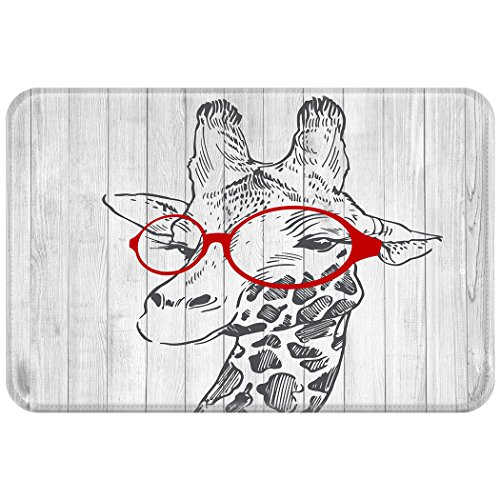 YISUMEI 50x80 cm Teppich Türvorleger Sauberlaufmatte Fußabtreter Giraffe Holz Karikatur Gläser
