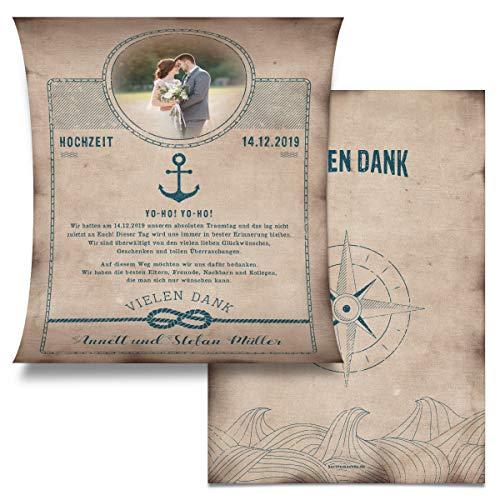 30 x Hochzeit Danksagungskarten Dankeskarten individuell Text Foto zusammenrollbar - Schatzkarte als Flaschenpost