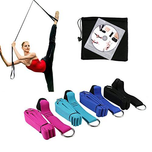 Tür Keilrahmen–100% weiche Baumwolle, einfach zu installieren–Home Stretch-Band für Ballett, Yoga, Tanz, Pilates, Gymnastik & mehr–Stretching Leg Strap erhöhen Ihre Flexibilität, Mobilität–mhby, schwarz (Leg Strap Bands)