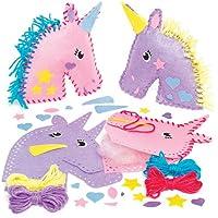 Baker Ross Kits de Costura de Cojines de Unicornio Multicolor de Fieltro Que los Niños Pueden Crear, Decorar y exhibir como Manualidades veraniegas (Pack de 2).