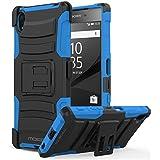 Sony Xperia Z5 2015 Phone Funda - MoKo [Heavy Duty] Full Body Rugged Holster Funda Con Swivel Belt Clip - Dual Layer Shock Resistant para Sony Xperia Z5 5.2 Inch Smartphone 2015 Edition, Azul
