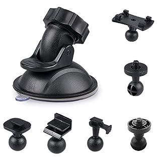 Auto-Saugnapf für Armaturenbrett-Kamera-Halter mit 6-fach-Adapter, Homree, drehbar um 360 Grad, Autohalterung für DVR-Kamera, Camcorder, GPS-Action-Kameras