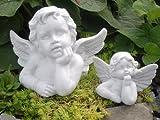 Steinfigur Engel 2er Set - Antik-Weiss, Figur Deko Grabschmuck Garten Putte