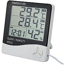 Termómetro hidrógrafo profesional Estación Meteorológica inalámbrica digital con pantalla LCD con medición de humedad temperatura y reloj despertador