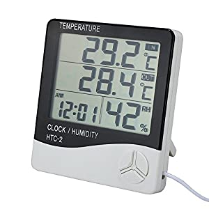 VADIV Digitales Innen Außen Thermometer, Indoor & Outdoor Thermo Hygrometer mit Kabel und LCD Großes Display…