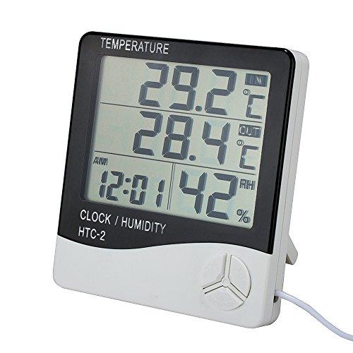 Digitales Thermo Hygrometer, HTC-2 Luftfeuchtigkeitmessen Thermometer Innen-/Außentemperatur Temperatur Raumluftüberwachtung mit Alarm Wecker Großer LCD-Bildschirm mit Halter 1.4M Kabel