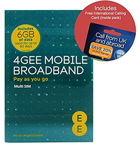 EE 4G 6GB UK PAYG Trio Data SIM - Mobile Broadband -6GB + FREE International Calling Card - (RETAIL