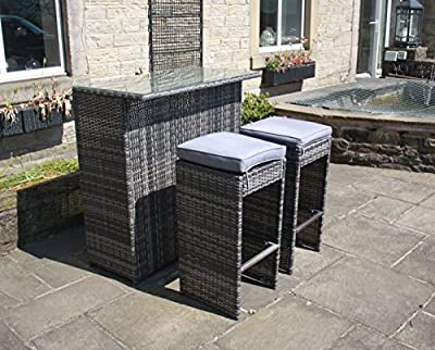 Rattan Outdoor 2 Seat Bar Table and Stool Set Garden Furniture in Grey - inexpensive UK light shop.