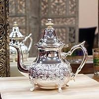 Gran tetera marroquí, tamaño grande, tetera árabe, tetera plateada