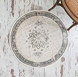Jeanne d' Arc Living Teppich Läufer Brücke 'Dusty Flower' rund Ø 90 cm Creme beige grau im Used-Look Vintage Landhaus Shabby French Nostalgie