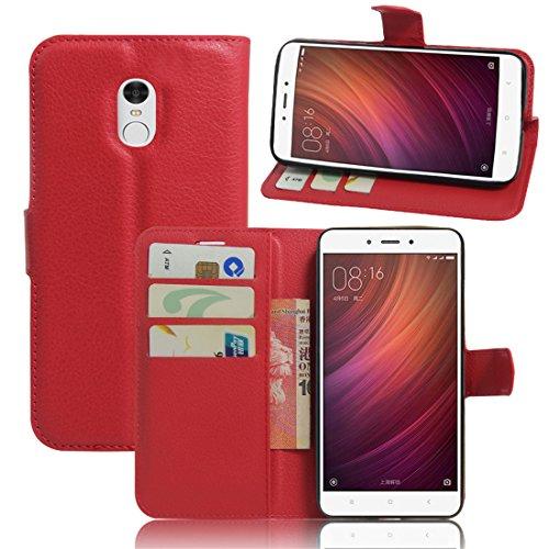 Xiaomi Redmi Note 4 Funda, Wrcibo Xiaomi Redmi Note 4 Funda Flip de PU Cuero Billetera Cartera Monedero Funda Caso Case para Xiaomi Redmi Note 4 Smartphone(Rojo)