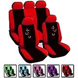 Auto Sitzbezug/Autositzbezüge/Schonbezug/Schonbezüge, Universal Schoner Sitzschutz, Stickerei Butterfly , Super Design , NEU & OVP (#246 Schwarz/Rot AS7243)