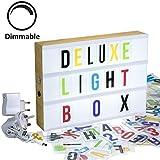 Gadgy ® Regulable Cinema LightBox Deluxe A4 con Adaptador | Caja Cinematografica con 170 Letras y Symbolos Numeros | Senal Luminosa de Luz Vintage Mirado de Marera 30x22x5,5 cm Luz Ambiente