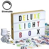 Gadgy ® Dimmbare Cinema LightBox Deluxe A4 mit Adapter | Kino Leuchtkasten LED mit 170 Buchstaben und Symbole Emoji Zahlen | Vintage Holz 30x22x5,5 cm Stimmungslicht