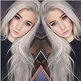 Mode Naturel Gris argent longue ligne droite synthétique Lace Front Perruque complète sans colle Gris clair résistant à la chaleur Cheveux Femme Perruques