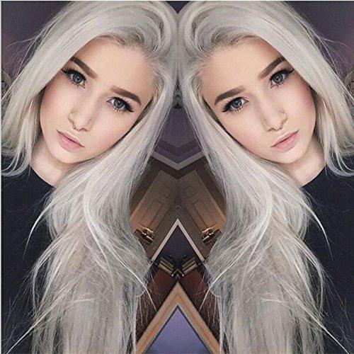 Fashion Gris Argent Longue Ligne Droite Perruque lace front synthétique Naturel Cheveux Sans colle gris clair résistant à la chaleur Femmes Perruques