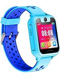 ENFANTS Smart Watch, LBS/GPS Tracker pour Filles et Garçons ou Cadeaux de Noël et D'anniversaire(Bleu)