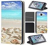 CoverFix Premium Hülle für Samsung Galaxy S5 Mini G800 Flip Cover Schutzhülle Kunstleder Flip Case Motiv (1517 Strand Meer Sonne Urlaub Muschel)