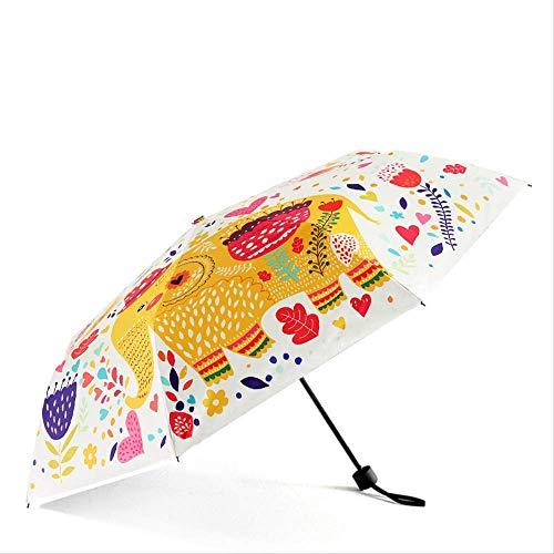 LZBDKM Creativo Elefante Plegable Paraguas Lindo Mini Compacto Ligero Paraguas de Viaje Lluvia Mujeres Hombres Impermeable/UV ProtectorBeigeParasolElefante