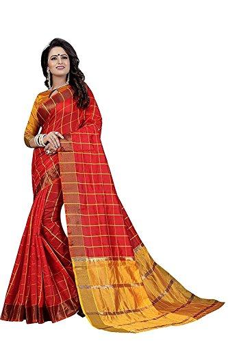 kiranz web store Women's cotton Silk Saree With Blouse Piece (rei8aVariation) Red...