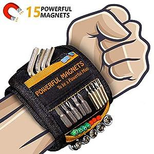 Bestes Männer Geschenke Magnetisches Armband - Magnetarmband Handwerker mit 15 Leistungsstarken Magneten, Vater Tischler Männer Gadgets Geschenke für Halten Werkzeuge Schrauben Nägel Bohrernn (1,OG)