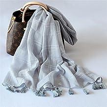 Larga Bufanda Bufanda doble uso bufandas de algodón de primavera y otoño invierno señoras lattice marcada bufandas,gris claro