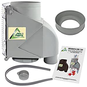 Amur T50 Filtre de tuyau de descente pour collecteur d'eau de pluie Gris