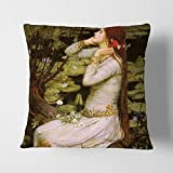 NFHRRe Arty Pie John William Waterhouse Ophelia Charcoal Backed Cushion Throw Pillow, Multi-Colour, 18