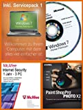 Windows 7 Home Premium 32 Bit Deutsch inkl. Service Pack 1 (SP1) MAR Refurbished Version + McAfee Internet Security 3 User / 1 Jahr + Corel Paintshop Pro Photo X2