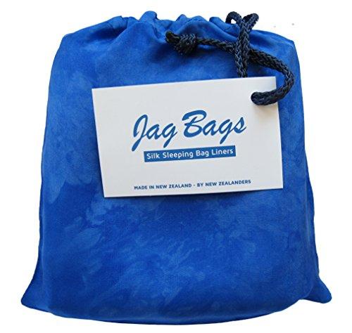 JagBag Innenschlafsack, aus reiner Seide, Standardgröße, blau (Tasche Seide Bogen)