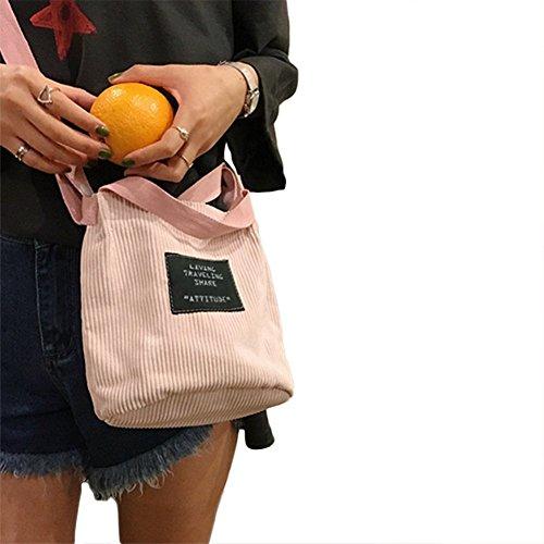 LAAT Frauen Beutel Art und Kordhose Handtasche beiläufige Schulter Beutel Mini Kuriertaschen Kreuzkörper Beutel im Freien Geldbeutel rosa