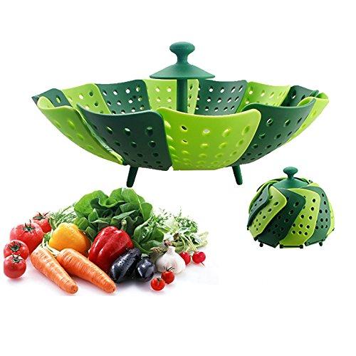 Prehelife Vaporera Lotus Plus plegable de vapor de silicona Cesta del vapor olla creativa herramienta de la cocina (Verde)-Accesorios para cocinar al vapor