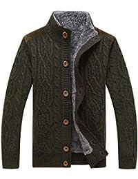 VIVOSUN Herren Strickjacke mit Fleece Zopfmuster Sweater Cardigan  Strickpullover mit Knöpfen Stehkragen Slim Fit… f462f0b5f9