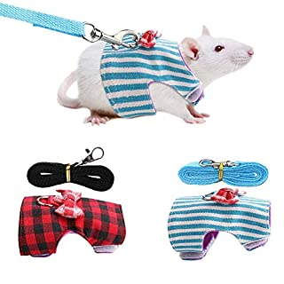 Naroote Brustgurt, Kleintiere Rabbit Bunny Traction Rope Brustgurt Red Grid und Blue Stripes(M)