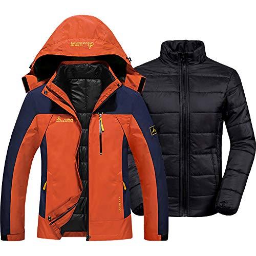 GEMYSE Damen 3 in 1 wasserdichte Skijacke Funktionsjacke Warm Winterjacke Winddichte Outdoor Wanderjacke Doppeljacke Regenjacke(Orange,EU L)