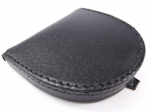 Mens High Quality Black Leather Coin Tray Purse Wallet