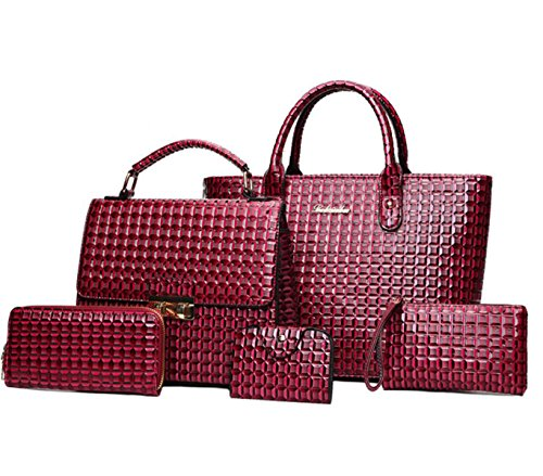 Damen Handtaschen Diamant Muster Tragbare Schulter Messenger Bag Wallet Card Paket Clutch Red
