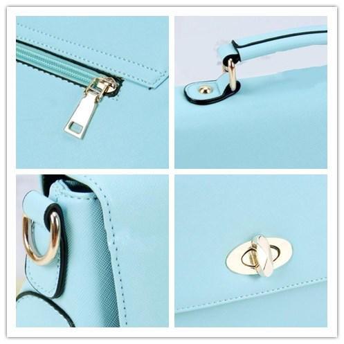 LDMB Damen-handtaschen Frauen PU-lederner einfacher wilder Schulter-Kurier-Handtaschen-feste Farben-leichter Crossbody Beutel-justierbare MultifunktionsTote-Beutel Blue