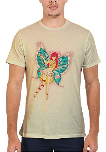 Butterfly Fearie Animation Funny Men Women Damen Herren Unisex Top T Shirt Sand(Cream)