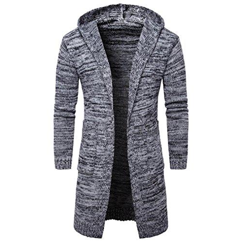JIANGFU Männer Strickjacke,Mens Slim Fit Kapuzen-Strick Pullover Fashion Strickjacke Long Trench Mantel Jacke (M, GY) (Colorblock-leder-jacke)